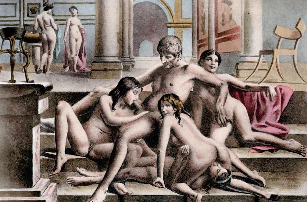Оргия, секс, рисунок, Древняя Греция